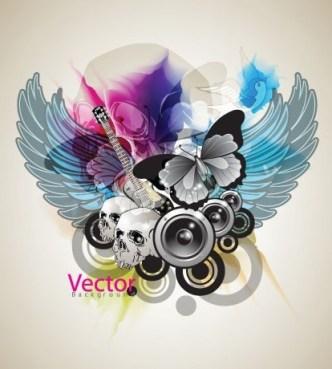 Music Art Grunge Background Vector 01