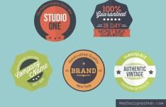 5 Retro Flat Badges PSD
