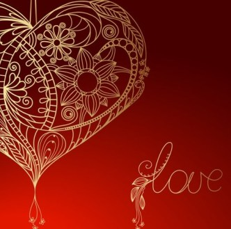 Gold Floral Love Heart Vector For Happy Valentine's Day