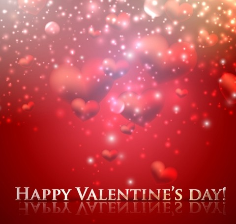 Red Romantic Love Hearts Background For Valentine's Day Vector