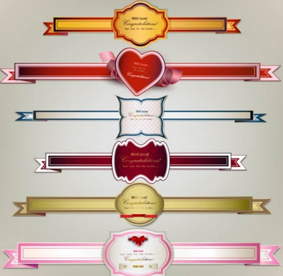 Set Of Vector Valentine's Day Labels & Ribbons