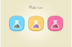 3 Rounded Flat Flask Icons PSD