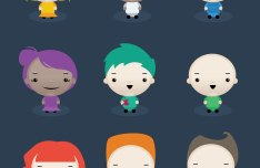 Set Of Vector Cute Characters