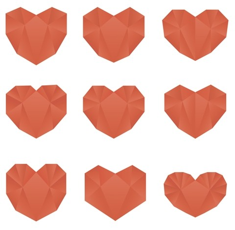 Set of Abstract Love Heart Designs Vector