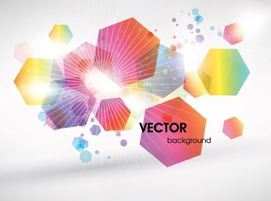 Abstract Hexagon Shaped Colorful Halos Background Vector