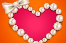 Love Heart Pearl Necklace Vector