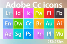 Flat Long Shadow Adobe CC CS6 Icons