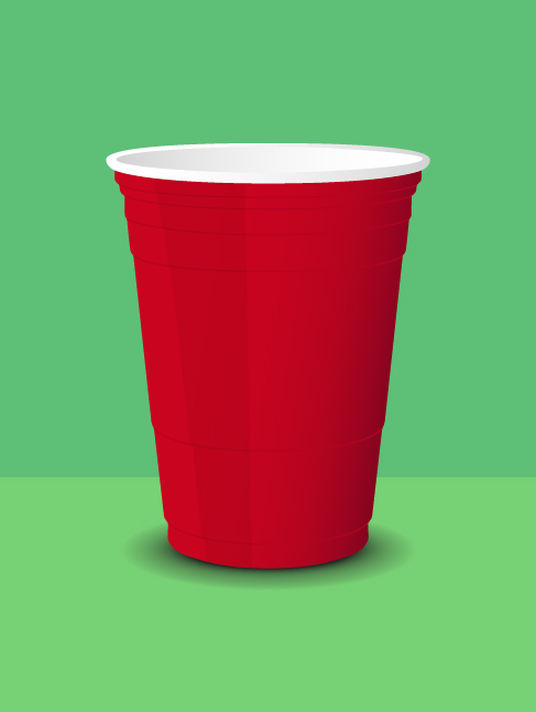 Red Cup Mockup Template Vector