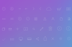 Simple Nic Line Icon Set PSD