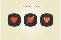 Valentine Love Heart Icons PSD