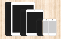 Flat iPhone 5s & iPad Templates PSD