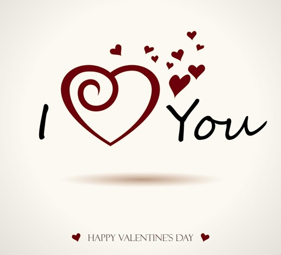 Happy Valentines Day I Love You Vector Background