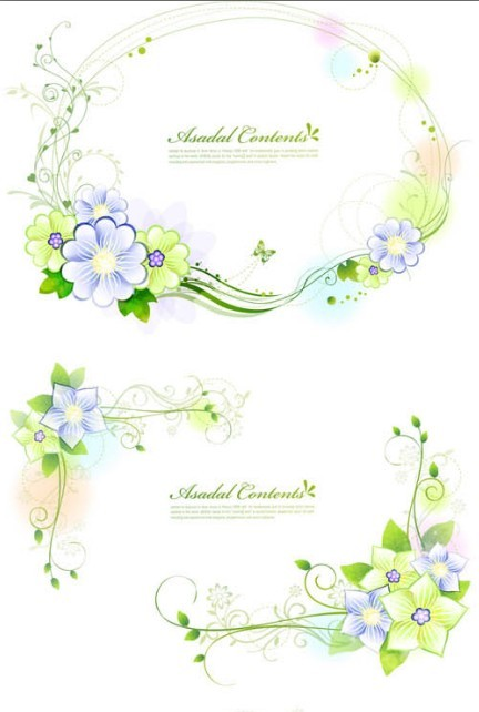 Set of Green Flower & Vine Frames Vector