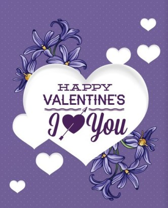 White Hearts with Violet Flower Background Vector