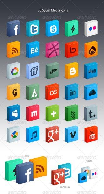 30 3D Box Social Media Icons PSD Included