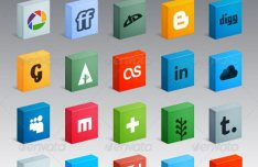 30 3D Box Social Media Icons PSD Included