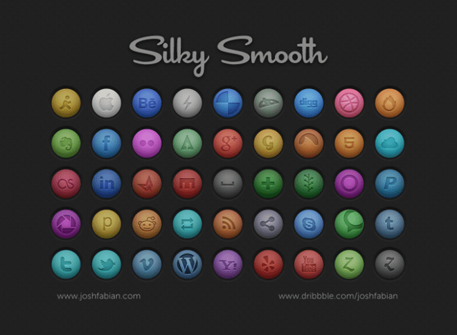 45 Smooth Round Social Icons PSD