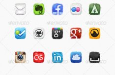 50 Painted Social Icons PSD Included