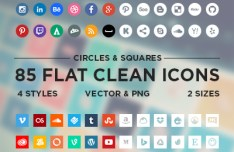 85 Flat Clean Social Media Icons Vector