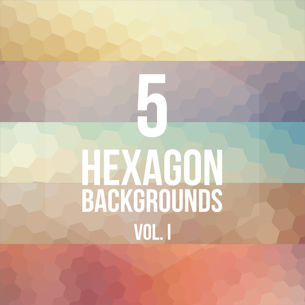 5 Colorful Hexagon Backgrounds Vol.1