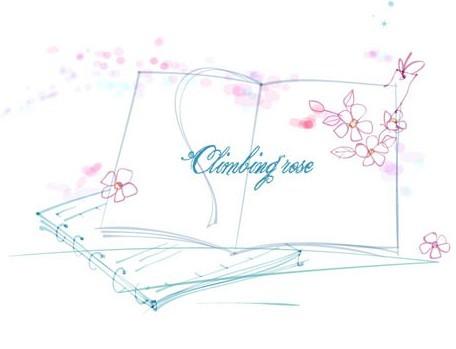 Hand Drawn Climbing Rose On Book Vector Illustration