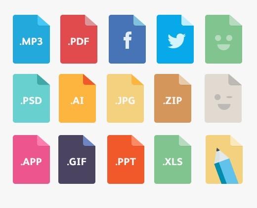free 15 colorful flat file type icons psd titanui