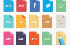 15 Colorful Flat File Type Icons PSD