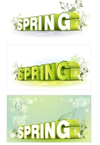 Green 3D Floral Spring Text Styles Vector