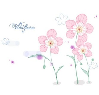 Hand Drawn Wild Flowers Vector Illustration