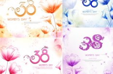 Set Of 8 March International Women's Day Backgrounds Vector