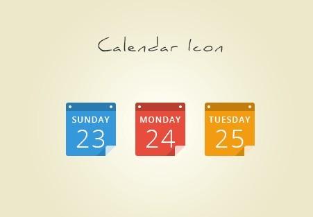 Colored Flat Calendar Icons PSD