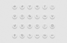 Round Social Media Buttons PSD