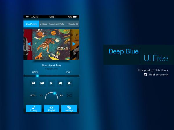 Deep Blue Mobile UI Kit PSD