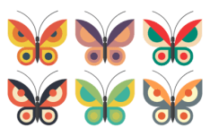 Set Of Colorful Flat Butterflies Vector