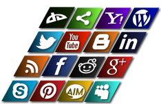 Slanted Social Media Icons Vector