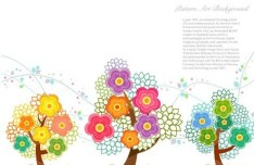 Colorful Flowers Pattern Art Background Vector 03