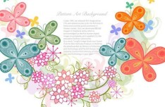 Colorful Flowers Pattern Art Background Vector 05