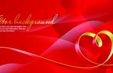 Red Valentine's Day Vector Banner Background 02