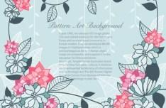 Simple Blue & Pink Flowers Frame Vector