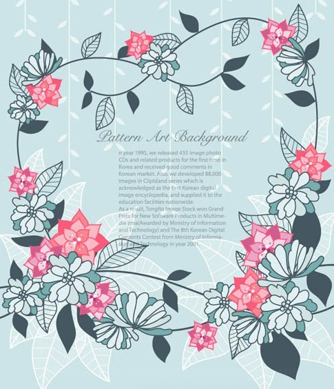 Simple Blue & Pink Flowers Frame Vector