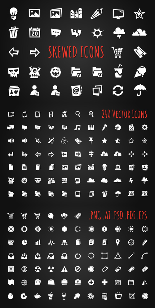 240 Vector Skewed Icons