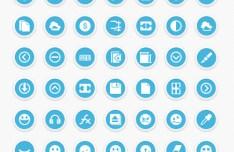77 Round Blue Icons PSD