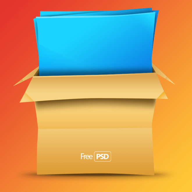 Brown Paper Box with Blue Paper PSD
