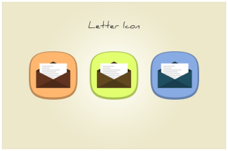 Flat Envelope with Letter Icons PSD