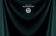 Dark Blue Sleek Stage Curtain Background Vector