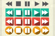 Flat Long Shadow Video Audio Player Control Buttons PSD