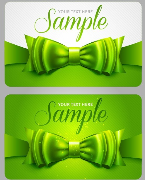 Fresh Green Bow Card Templates Vector