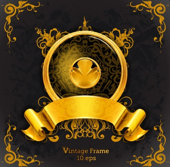 Vintage Golden Frame Design Vector