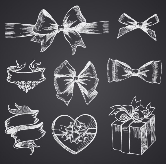 Hand Drawn Gift Boxes & Ribbon Bows Vector