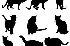 Cat Silhouettes Collection Vector